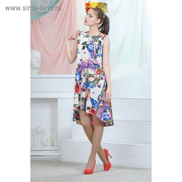 Платье, цвет белый/синий/красный, размер 52, рост 164 см (арт. 4635 С+)