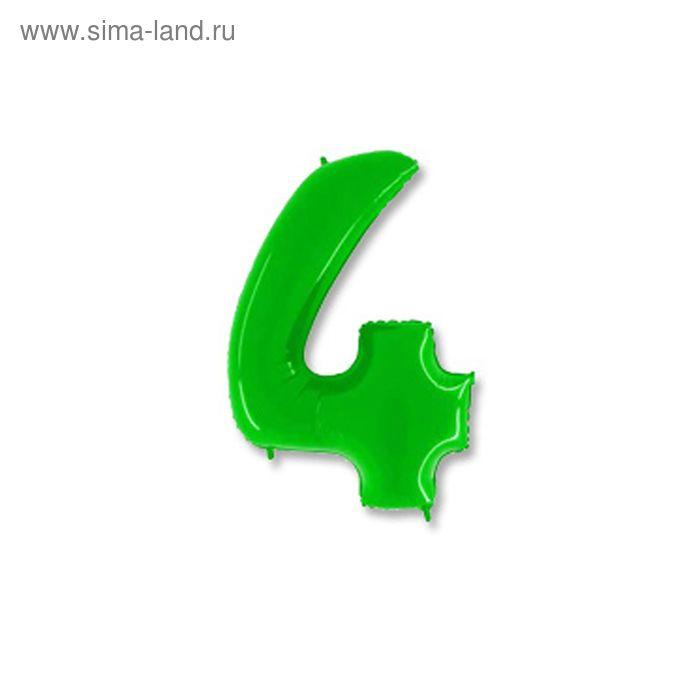 """Шар полимерный 40"""" """"Цифра 4"""", цвет ярко-зелёный"""
