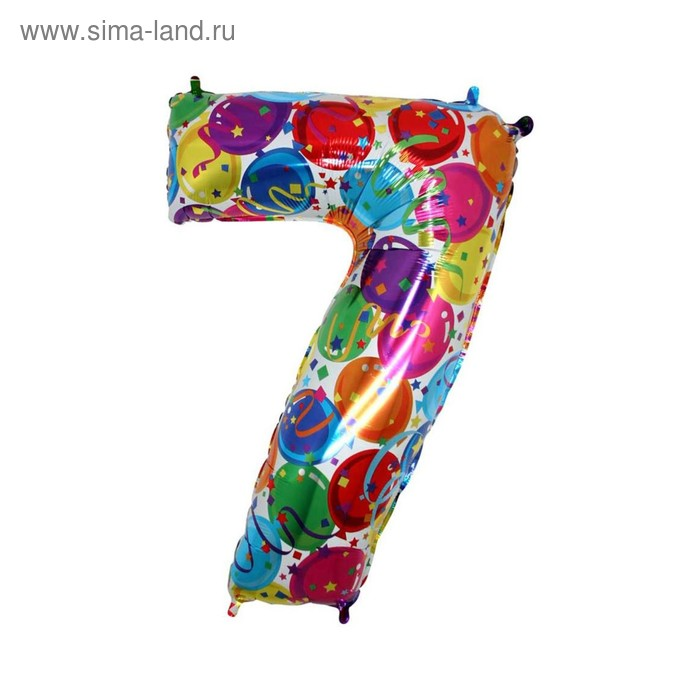 """Шар фольгированный 40"""" """"Цифра 7"""", шарики"""