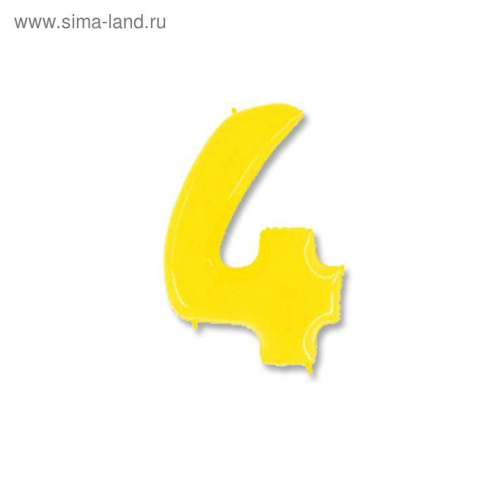 """Шар полимерный 40"""" """"Цифра 4"""", цвет ярко-жёлтый"""
