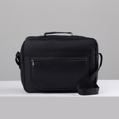 Сумка деловая на молнии, 1 отдел, 1 наружный карман, чёрная