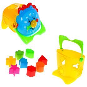 Логическая игрушка 2 в 1, сортер-ведёрко «Часики», МИКС