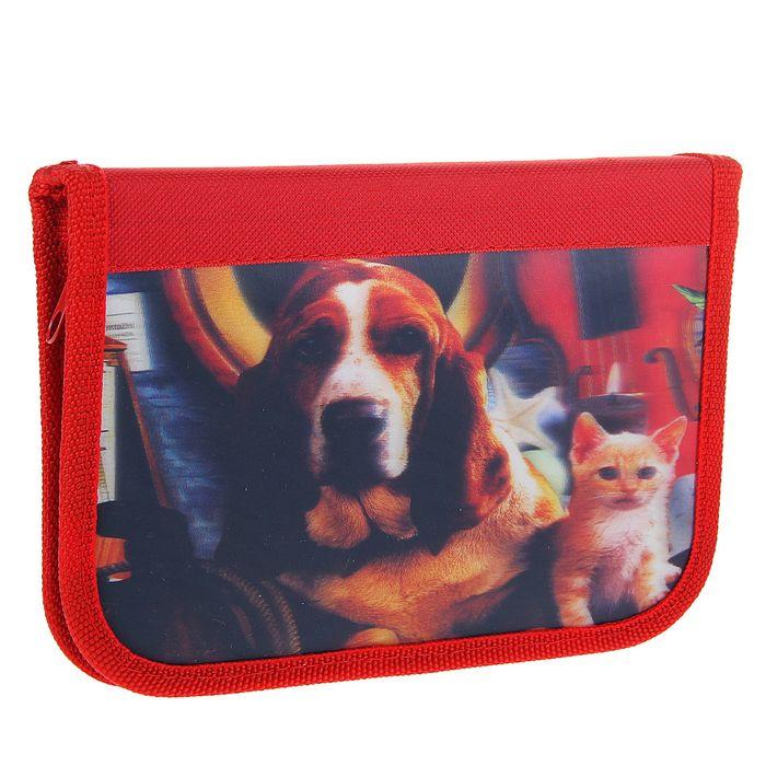 """Пенал 1 секция 130*200 мм, ткань 3D """"Собака и котенок"""""""