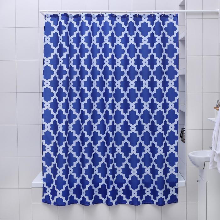 Штора для ванной комнаты Доляна «Марокко», 180×180 см, полиэстер, цвет синий