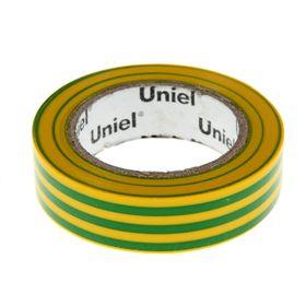 Изолента Uniel, 15 мм х 10 м, 0.135 мм, 10 шт, желто-зеленая Ош