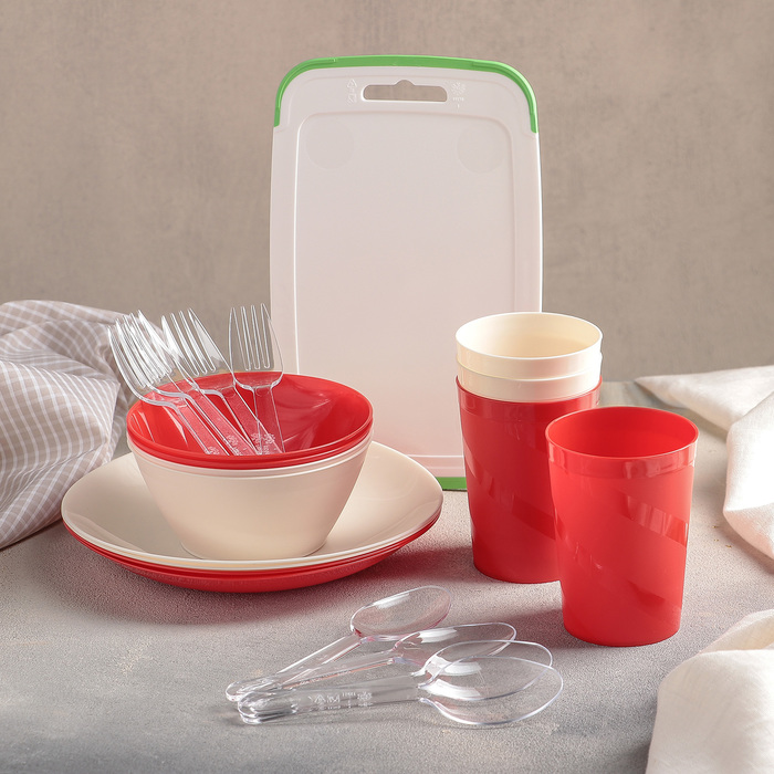 Набор посуды на 4 персоны, 22 предмета (контейнер 6,5 л), цвет МИКС