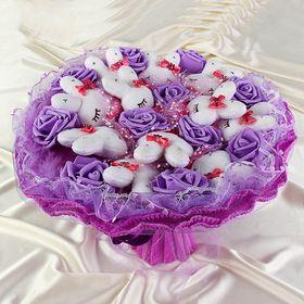 Букет из игрушек 'Гламурные зайки' фиолетовый Ош