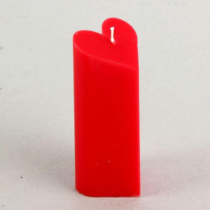 """Свеча-пирамида """"Сердце"""" 6,8 х 15 см, цвет красный"""