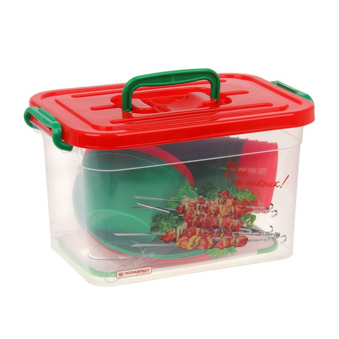 Набор посуды на 6 персон, 32 предмета (контейнер 6,5 л), цвет МИКС
