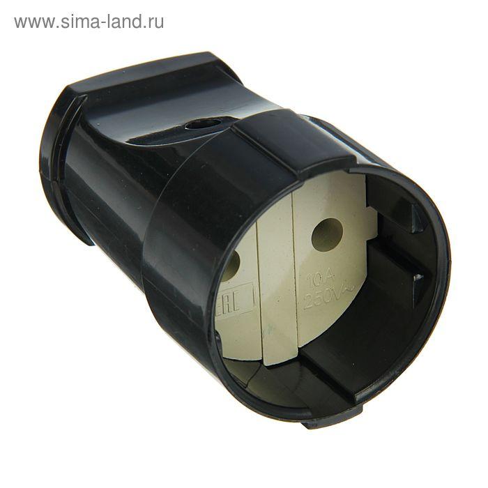 Розетка штепсельная UNIVersal А0115, без заземления, черная