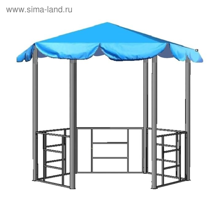 """Беседка разборная """"Семейная"""" с синей крышей"""