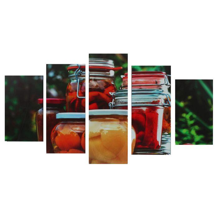 """Модульная картина на подрамнике """"Домашние заготовки"""", 2 — 43×25, 2 — 58×25, 1 — 72×25, 75×135 см"""