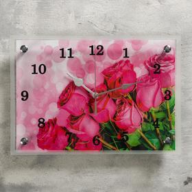 Часы настенные прямоугольные 'Розовые розы', 25х35 см микс Ош