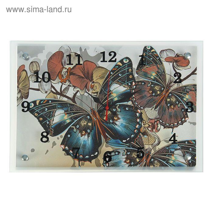 """Часы настенные прямоугольные """"Бабочки"""", микс 25х35 см"""