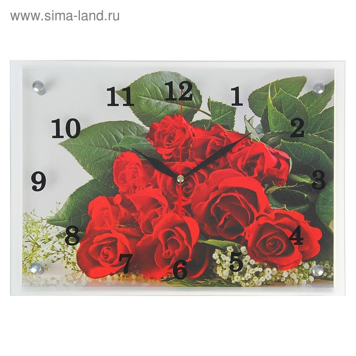 """Часы настенные прямоугольные """"Красные розы"""", 25х35 см  микс"""