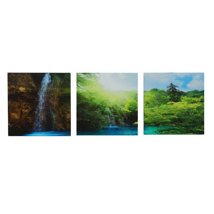 "Модульная картина на подрамнике ""Природа"", 3 шт. — 30×30 см, 100×40 см"