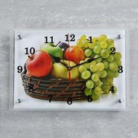 """Часы настенные, серия: Кухня, """"Корзина с фруктами"""", 25х35  см, микс"""