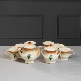 """Чайный набор """"Лорд"""" коричневый, ландыш, 8 предметов 0,6/0,25 л"""