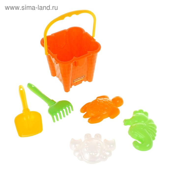 Песочный набор №550: Ведро-замок большой, лопатка, грабельки, формочки (краб и черепаха) МИКС