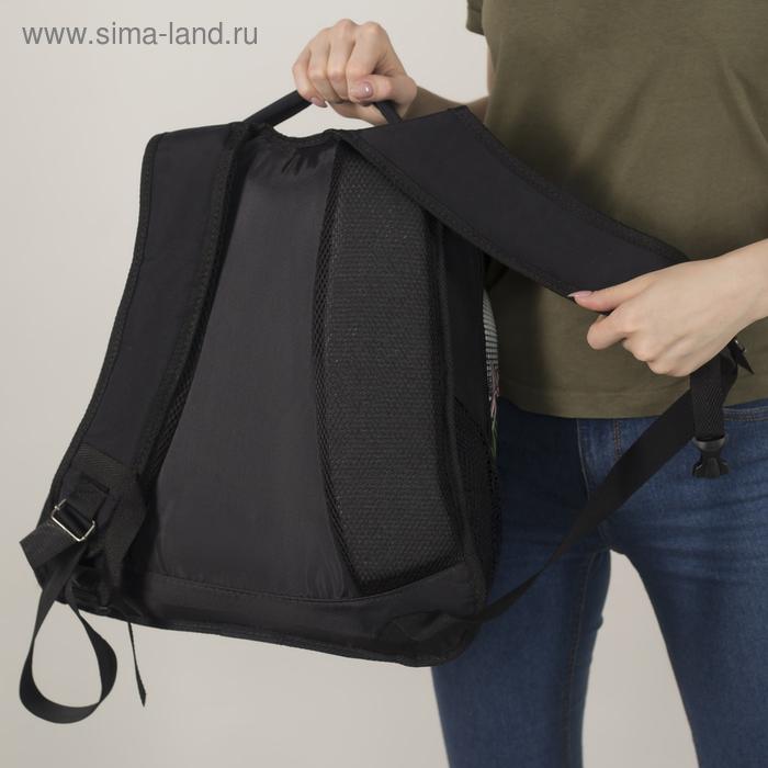 """Рюкзак молодёжный на молнии """"Цветы"""", 1 отдел, 1 наружный карман, чёрный"""