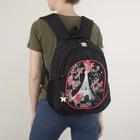 Рюкзак молодёжный, 2 отдела на молниях, наружный карман, 2 боковых кармана, цвет чёрный