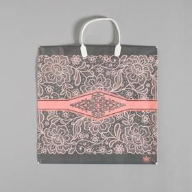 Nice bag, plastic with a plastic handle, 36 x 37 cm, 110 microns.