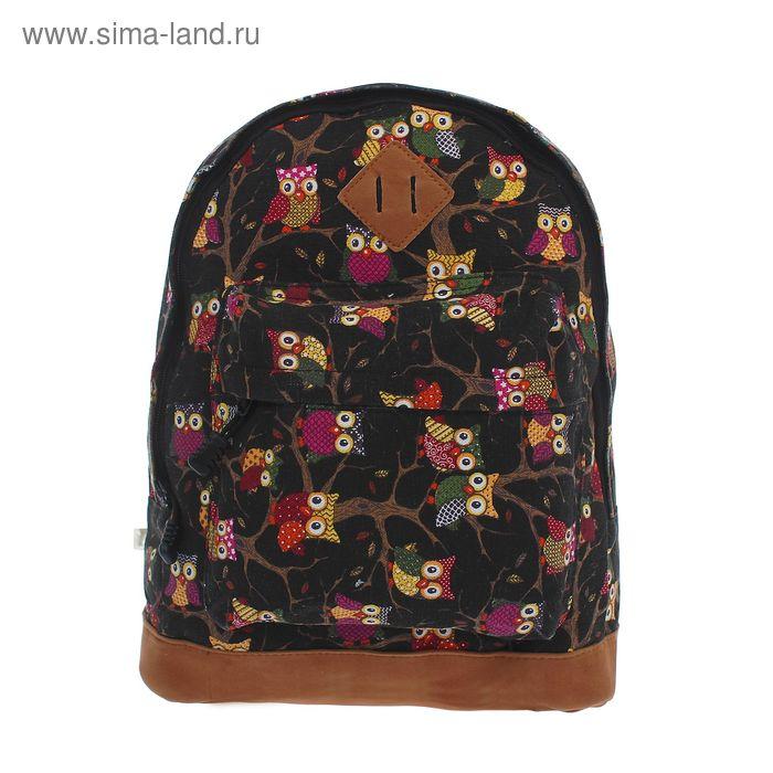 """Рюкзак молодёжный на молнии """"Совы"""", 1 отдел, 1 наружный карман, коричневый"""