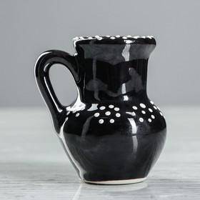 Ваза настольная 'Кувшин', глазурь, цвет черный, 8 см, керамика Ош