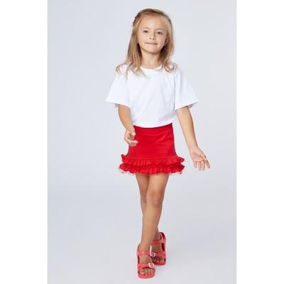"""Юбка для девочки """"Маки"""", рост 122 см (62), цвет красный"""