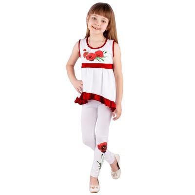 """Легинсы для девочки """"Маки"""", рост 110 см (56), цвет белый ДРЛ894804"""