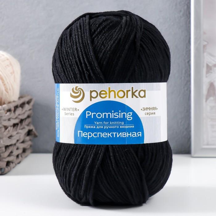 """Пряжа """"Перспективная"""" 50% мериносовая шерсть, 50% акрил объёмный 270м/100гр (02-Черный)"""