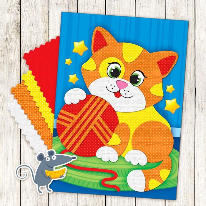 """Аппликация самоклеящейся тканью """"Котёнок"""""""