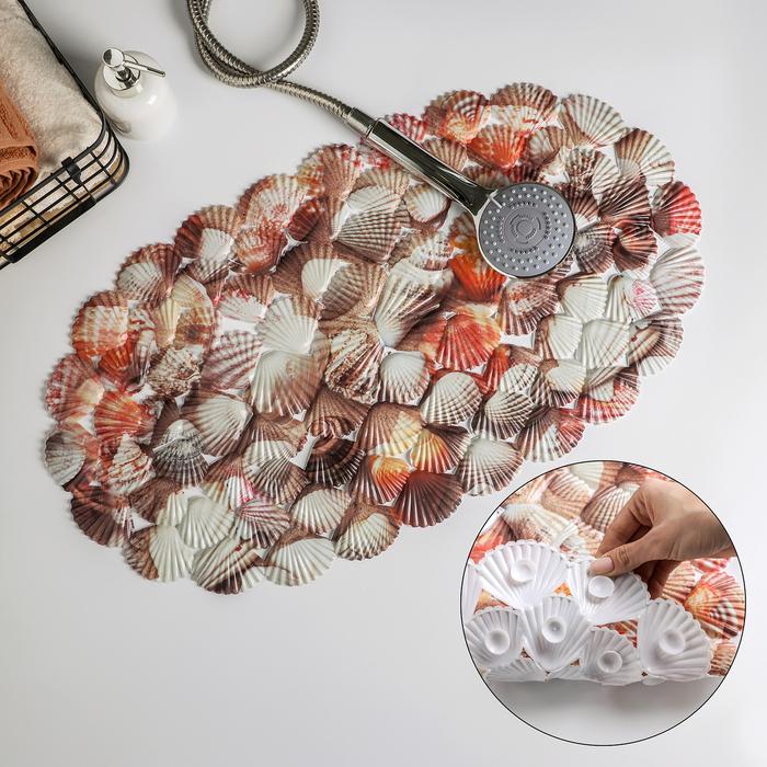 Коврик для ванны Доляна «Ракушки», 35×65 см