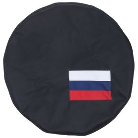 Чехол запаски, размер R 16-17, флаг России маленький, фон черный
