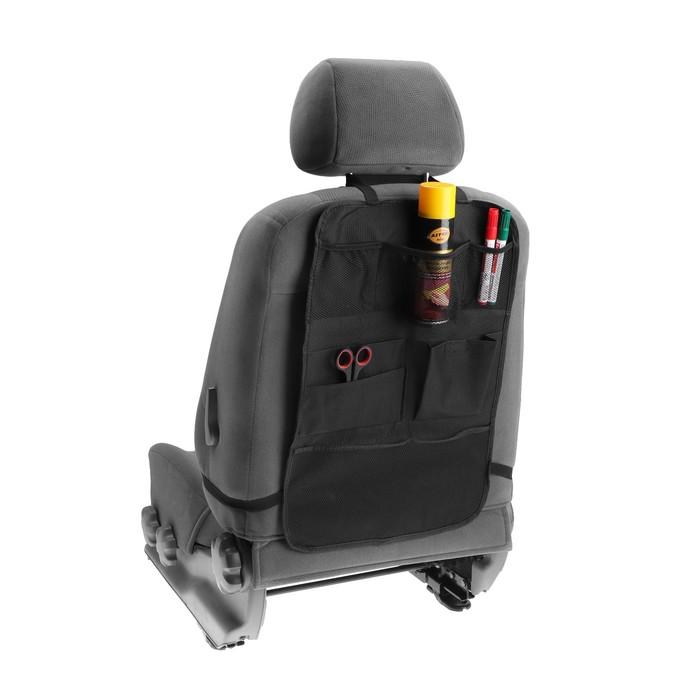 Органайзер на спинку сиденья автомобиля TORSO, 7 карманов, 37х60 см, черный