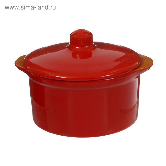 Кастрюля керамическая №3 красный 0,5 л