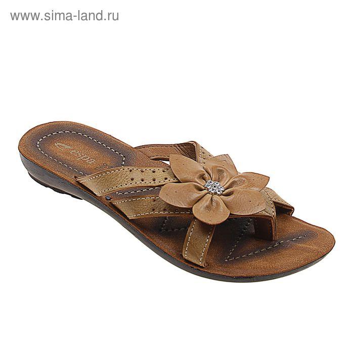 Туфли летние женские открытые, цвет коричневый, размер 38 (арт. 143039-3 EW)
