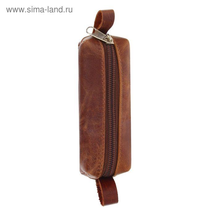 Ключница на молнии, коричневый матовый