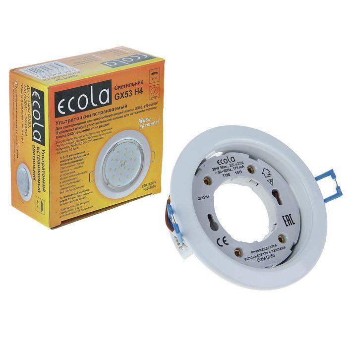 Светильник встраиваемый Ecola, GX53 H4, 38x106 мм, б/рефлектора, цвет белый
