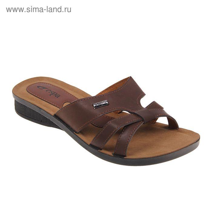 Туфли летние женские открытые, цвет коричневый, размер 37 (арт. 143-455 EW)