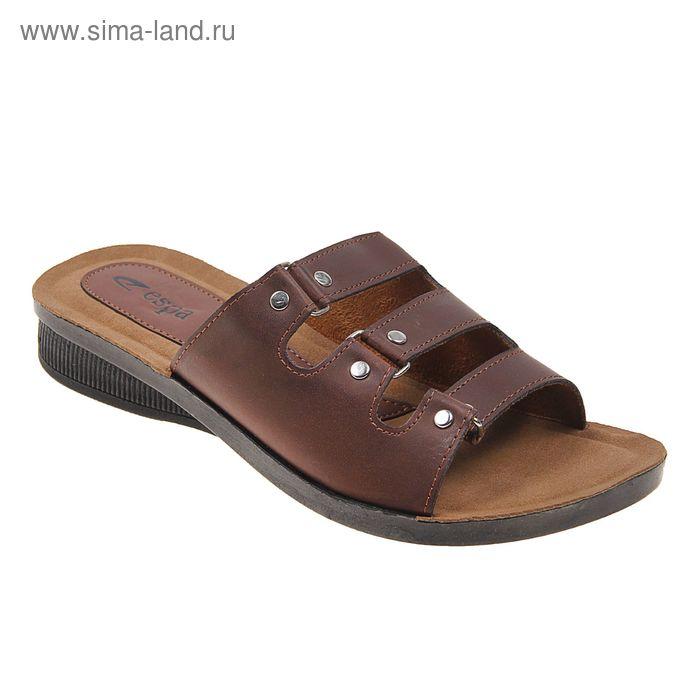 Туфли летние женские открытые, цвет коричневый, размер 40 (арт. 143-442 EW)