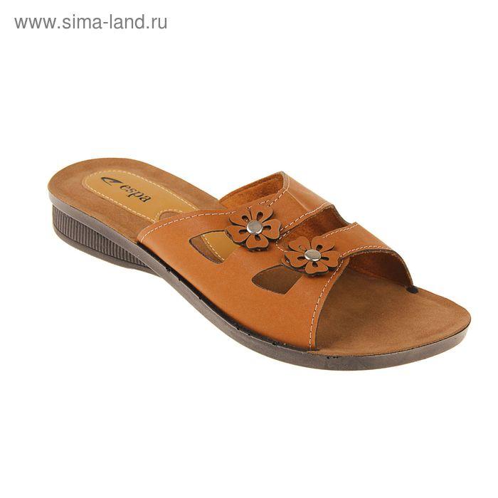 Туфли летние женские открытые, цвет коричневый, размер 38 (арт. 143-450 EW)
