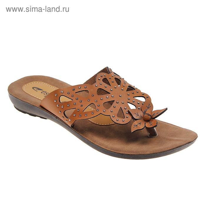 Туфли летние женские открытые, цвет коричневый, размер 38 (арт. 143-470 EW)