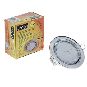 Светильник светодиодный Ecola, б/рефлектора, с лампой GX53, 4.2 Вт, 2800 К, 38x106 мм, хром