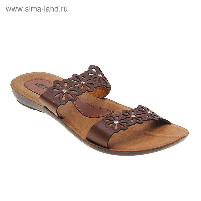 Туфли летние женские открытые, цвет коричневый, размер 38 (арт. 143-487 EW)