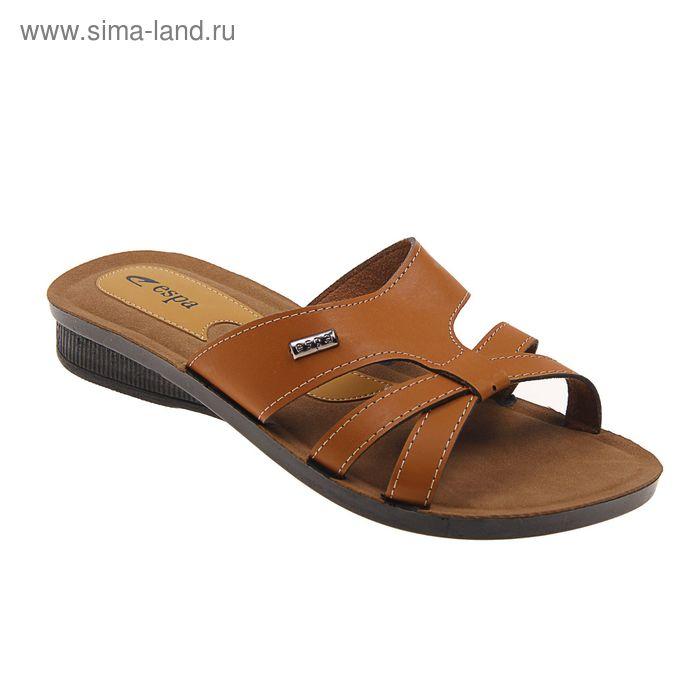Туфли летние женские открытые, цвет коричневый, размер 41 (арт. 143-453 EW)