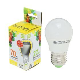 Лампа светодиодная ASD, Е27, 7.5 Вт, 210 - 240 В, 3000 К, 675 Лм, 'шар' Ош