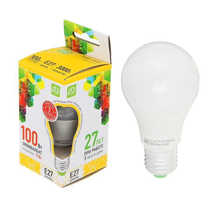 Лампа светодиодная ASD LED-A60-standard, Е27, 11 Вт, 160-260 В, 3000 К, 990 Лм