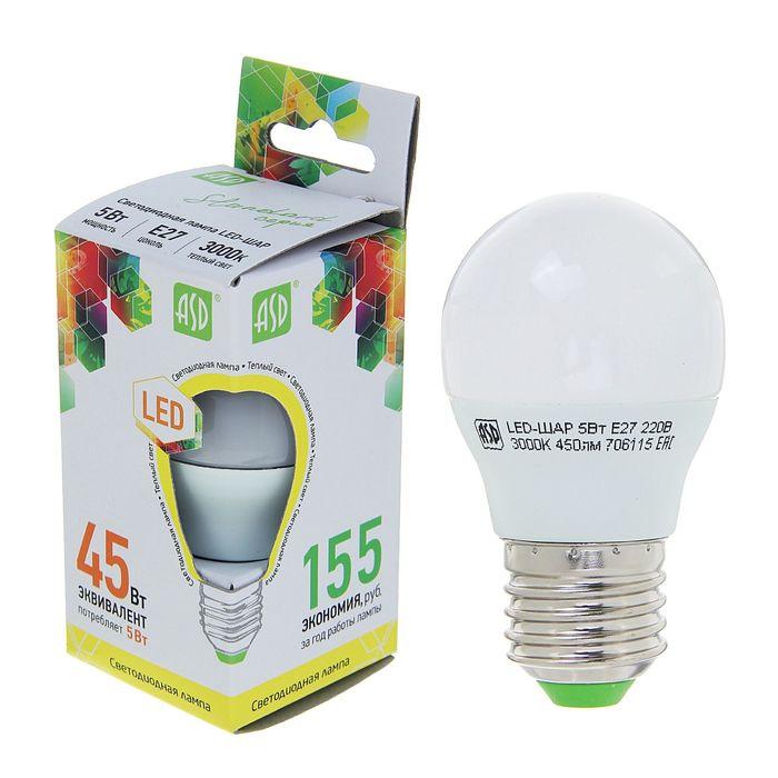 """Лампа светодиодная ASD, Е27, 5 Вт, 160-260 В, 3000 К, 450 Лм, """"шар"""""""