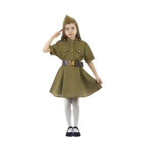 Карнавальный костюм военного: платье с коротким рукавом, пилотка, р-р 32, рост 122-128 см